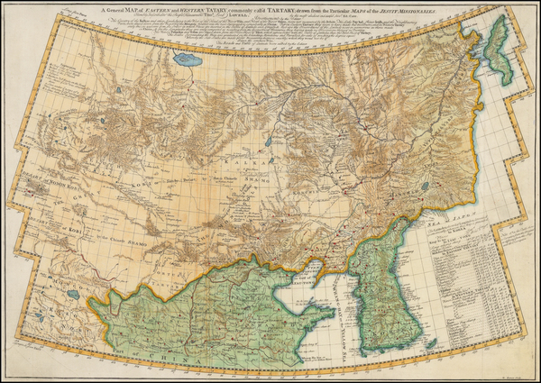 China and Korea Map By Jean Baptiste Du Halde