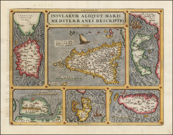 57-Italy, Greece, Mediterranean and Balearic Islands Map By Abraham Ortelius
