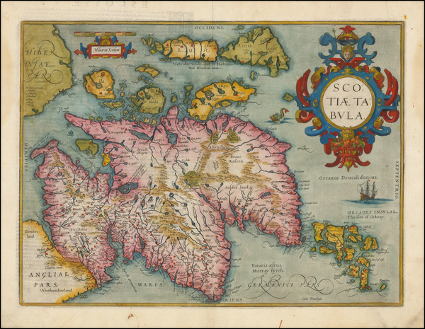 64-Scotland Map By Abraham Ortelius