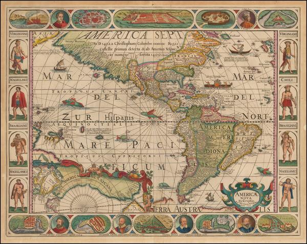 39-America Map By Pieter van den Keere / Nicolaes Visscher I