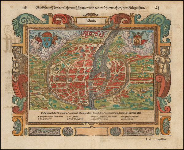 77-France and Paris Map By Sebastian Munster