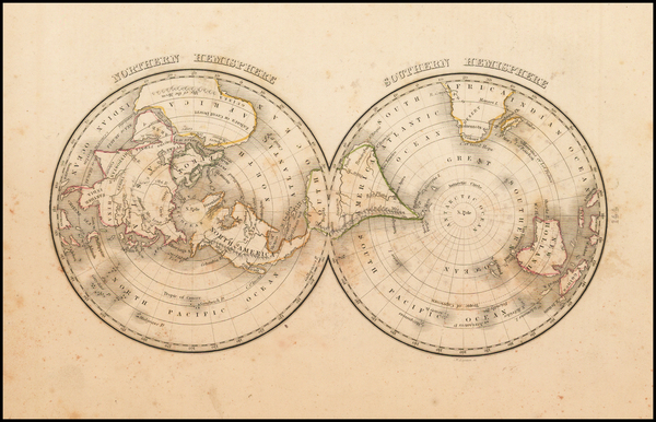 81-World, Northern Hemisphere, Southern Hemisphere and Polar Maps Map By Thomas Gamaliel Bradford