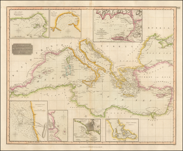 91-Mediterranean Map By John Thomson