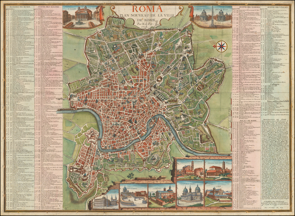 80-Italy and Rome Map By Nicolas de Fer
