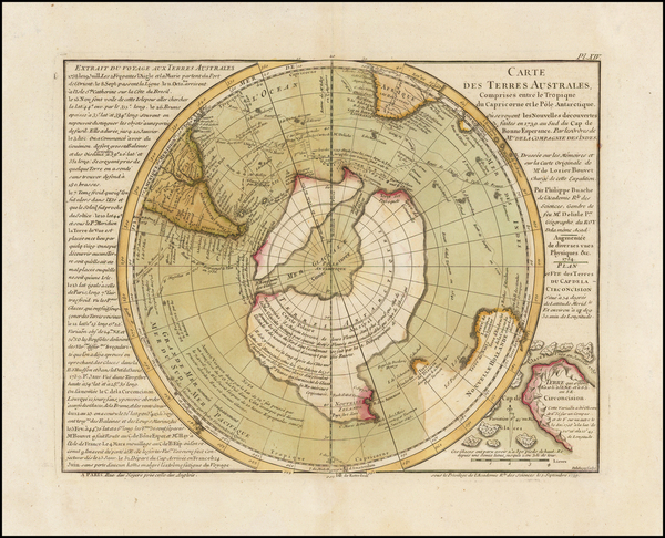 21-Southern Hemisphere, Polar Maps and New Zealand Map By Philippe Buache