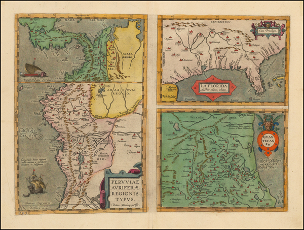 90-Florida, South, Southeast, Central America and South America Map By Abraham Ortelius