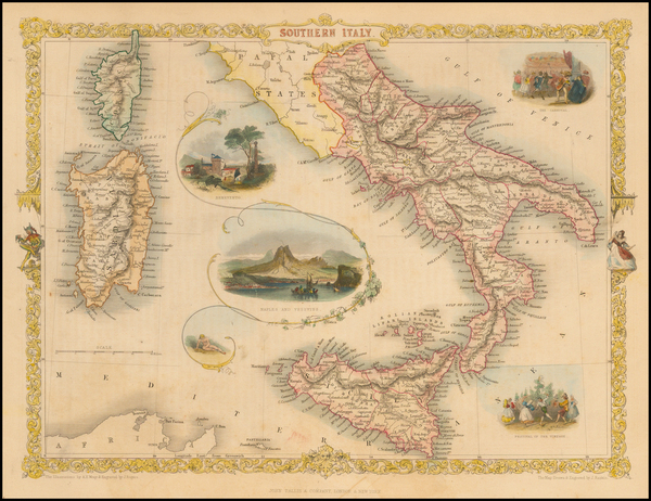 64-Italy and Balearic Islands Map By John Tallis