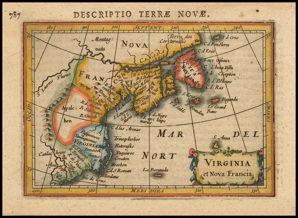 77-New England, Mid-Atlantic and Canada Map By Petrus Bertius