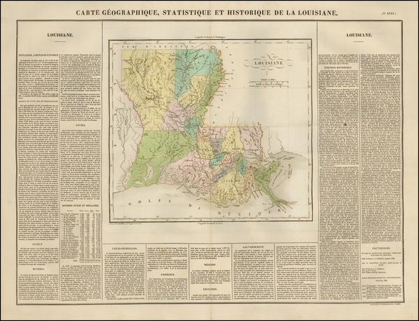2-South and Louisiana Map By Jean Alexandre Buchon