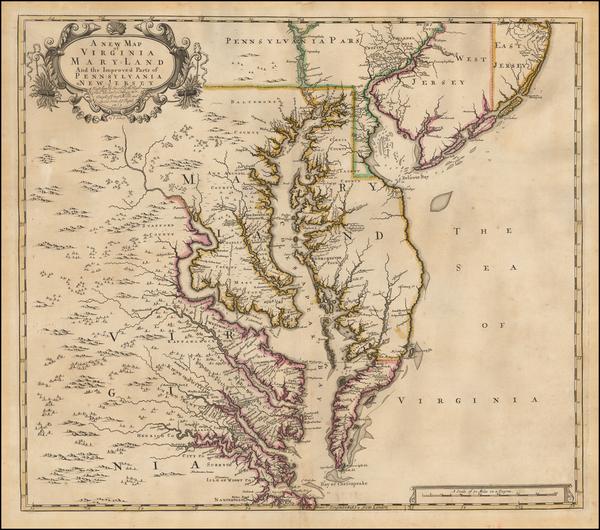 36-Mid-Atlantic, New Jersey, Pennsylvania, Maryland, Delaware, Southeast and Virginia Map By John