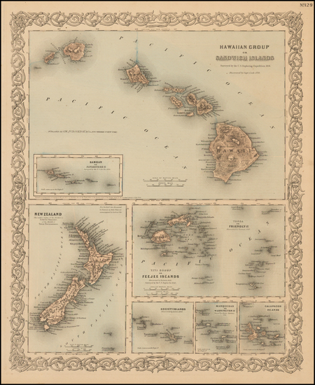 62-Hawaii, Hawaii and Other Pacific Islands Map By Joseph Hutchins Colton