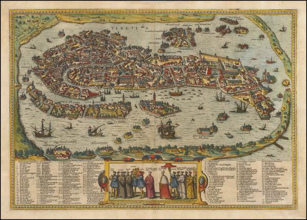 64-Italy Map By Georg Braun  &  Frans Hogenberg