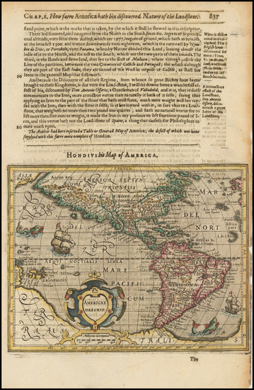 50-South America and America Map By Jodocus Hondius / Samuel Purchas