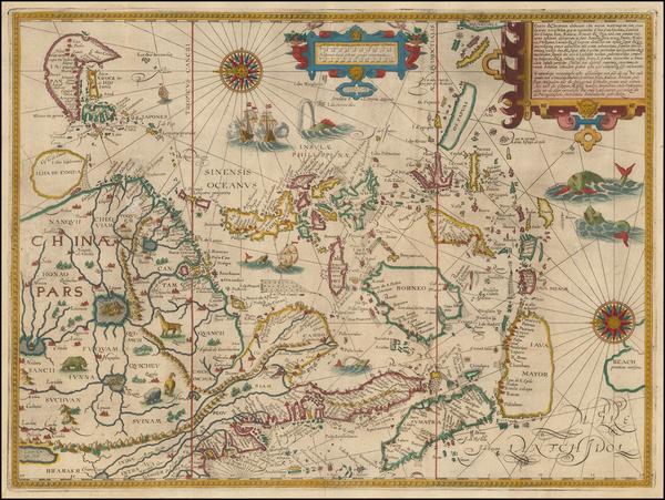 72-China, Japan, Korea, Southeast Asia and Philippines Map By Jan Huygen Van Linschoten