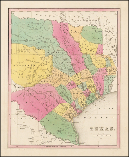 1-Texas Map By Thomas Gamaliel Bradford