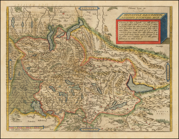 7-Switzerland Map By Abraham Ortelius