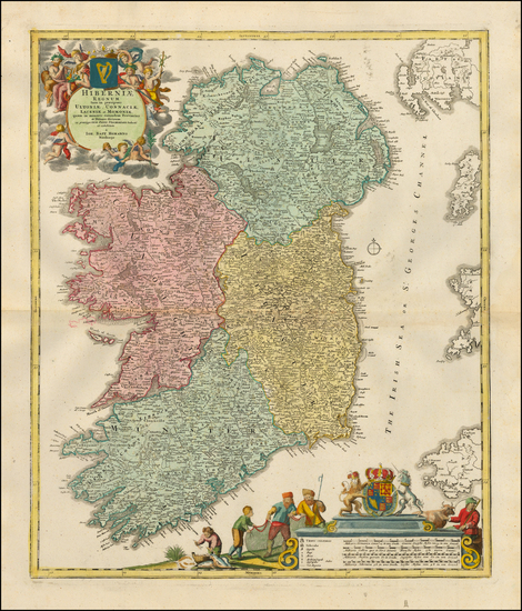 22-Ireland Map By Johann Baptist Homann