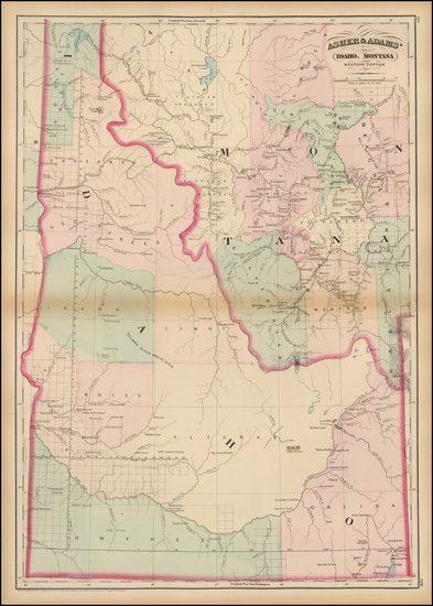 49-Rocky Mountains, Idaho and Montana Map By Asher  &  Adams