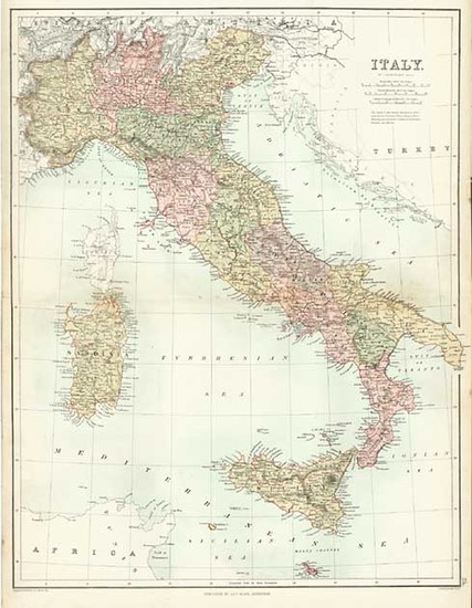 97-Europe and Italy Map By Adam & Charles Black