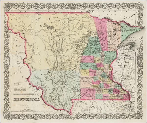 13-Midwest, Minnesota, Plains, North Dakota and South Dakota Map By Joseph Hutchins Colton