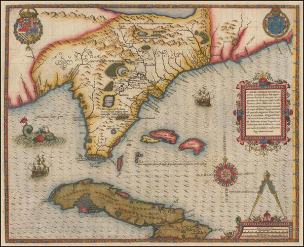 6-Florida, South, Southeast, Midwest and Caribbean Map By Jacques Le Moyne