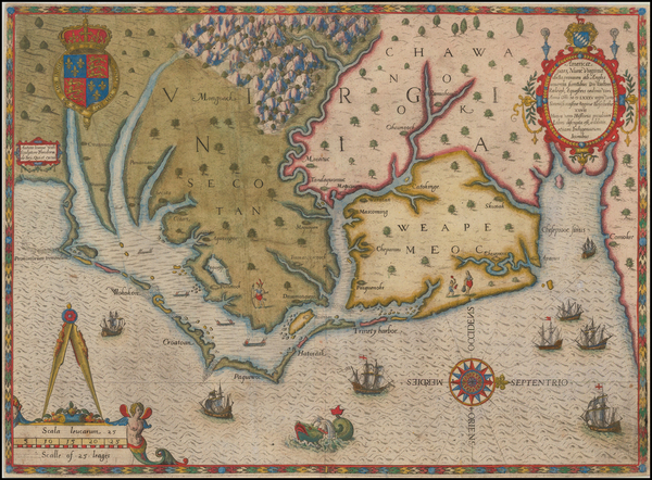 32-Mid-Atlantic and Southeast Map By Theodor De Bry / John White