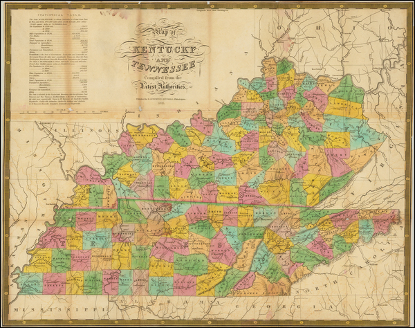9-South, Kentucky and Tennessee Map By Samuel Augustus Mitchell