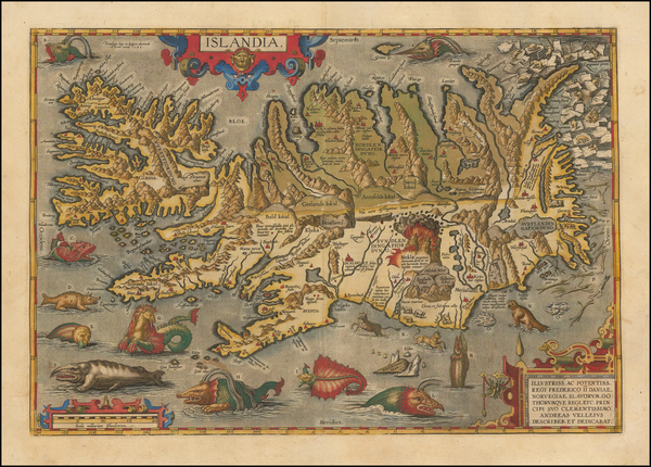 13-Atlantic Ocean, Iceland and Balearic Islands Map By Abraham Ortelius
