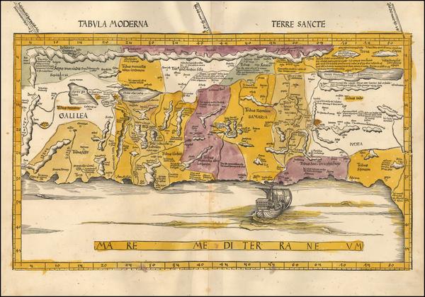 38-Holy Land Map By Martin Waldseemüller