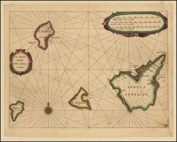 60-Atlantic Ocean, Spain and African Islands, including Madagascar Map By Willem Janszoon Blaeu