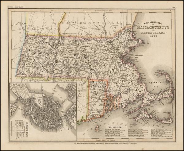 17-Massachusetts and Rhode Island Map By Joseph Meyer