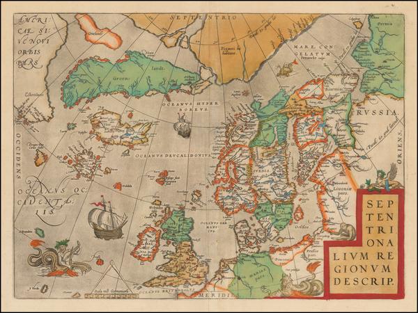 92-Atlantic Ocean, British Isles, Scandinavia and Balearic Islands Map By Abraham Ortelius