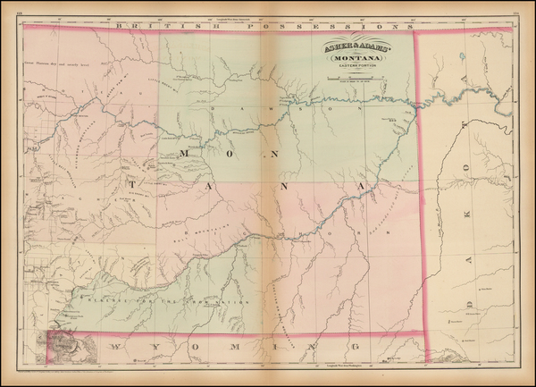 78-Plains, Rocky Mountains and Montana Map By Asher  &  Adams