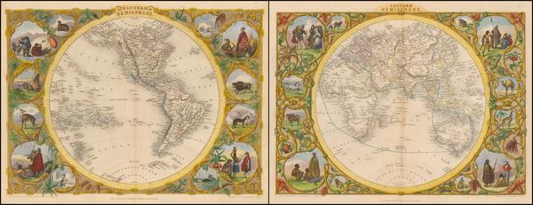 28-World, Eastern Hemisphere, Western Hemisphere, South America and America Map By John Tallis