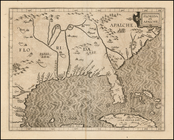 50-Florida, Southeast, Texas and Caribbean Map By Cornelis van Wytfliet
