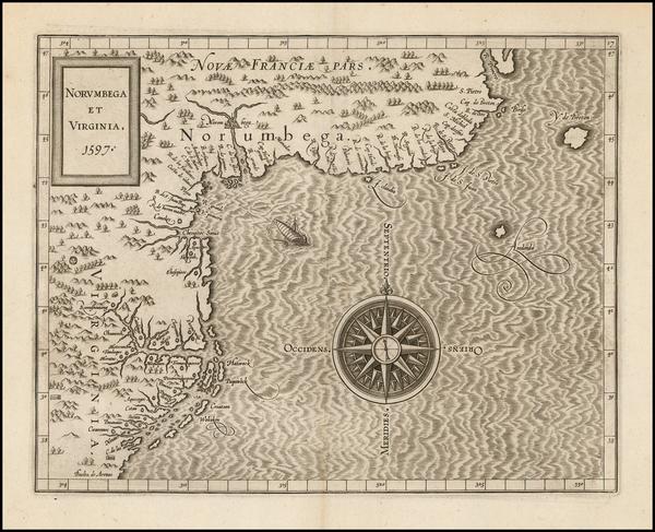 48-New England, Mid-Atlantic and Canada Map By Cornelis van Wytfliet