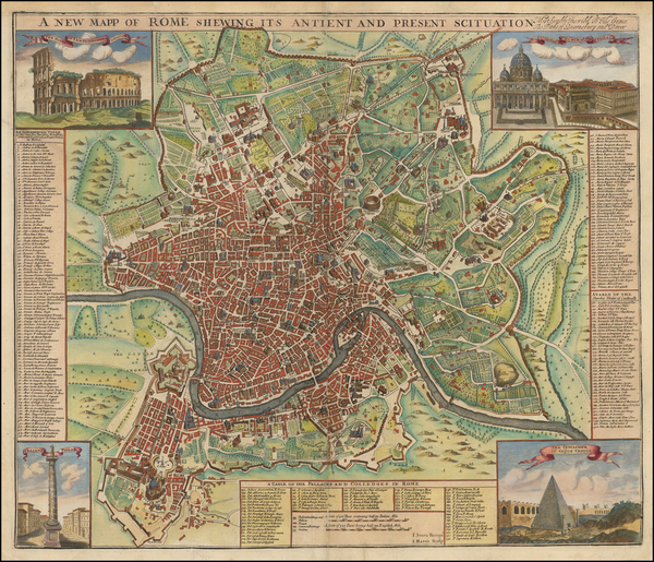 77-Rome Map By John Senex / John Harris