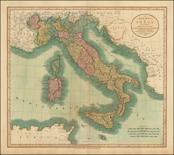 44-Italy and Balearic Islands Map By John Cary