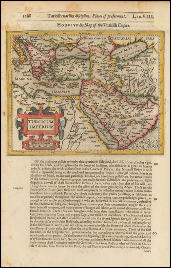 77-Turkey, Mediterranean, Middle East and Turkey & Asia Minor Map By Jodocus Hondius / Samuel
