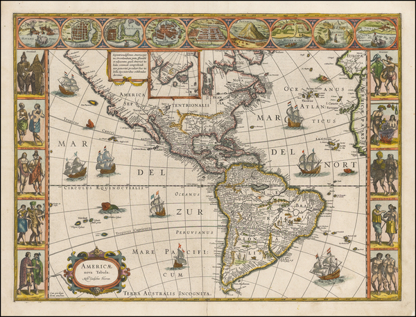 29-North America and America Map By Willem Janszoon Blaeu