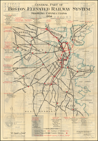 7-Massachusetts and Boston Map By Boston Elevated Railway Co. / Arthur Leslie Plimpton