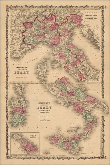 86-Italy and Balearic Islands Map By Benjamin P Ward  &  Alvin Jewett Johnson