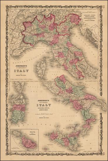 98-Italy and Balearic Islands Map By Benjamin P Ward  &  Alvin Jewett Johnson