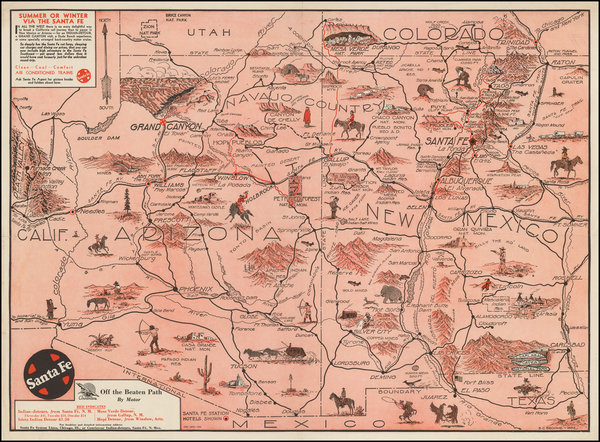 Southwest, Arizona and New Mexico Map By B. C. Broome