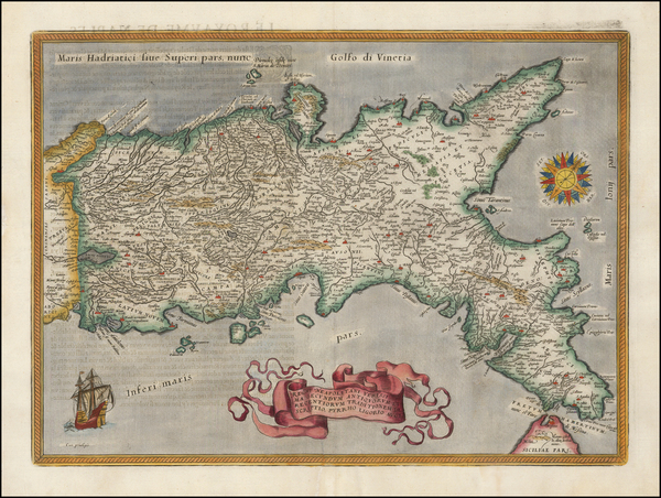 71-Italy and Southern Italy Map By Abraham Ortelius