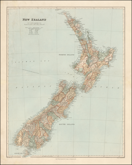 94-New Zealand Map By Edward Stanford