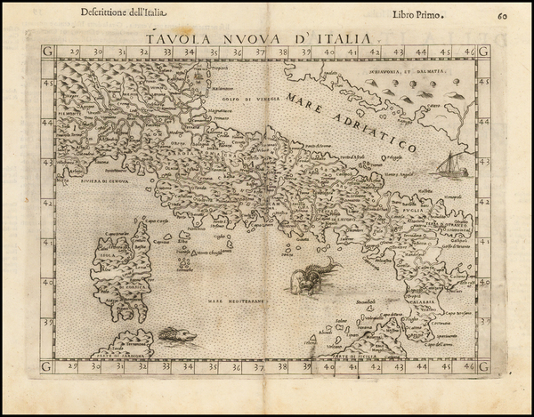 55-Italy and Balearic Islands Map By Girolamo Ruscelli