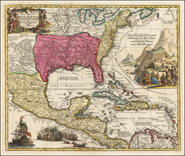 12-United States, South, Southeast, Texas, Midwest and Southwest Map By Johann Baptist Homann