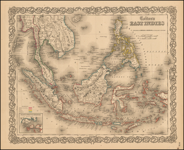 46-Southeast Asia, Philippines and Other Pacific Islands Map By Joseph Hutchins Colton
