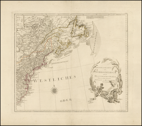 22-United States, New England and North America Map By Franz Anton Schraembl